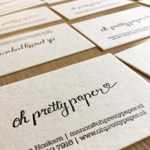 Letterpress visitekaartjes op katoenpapier