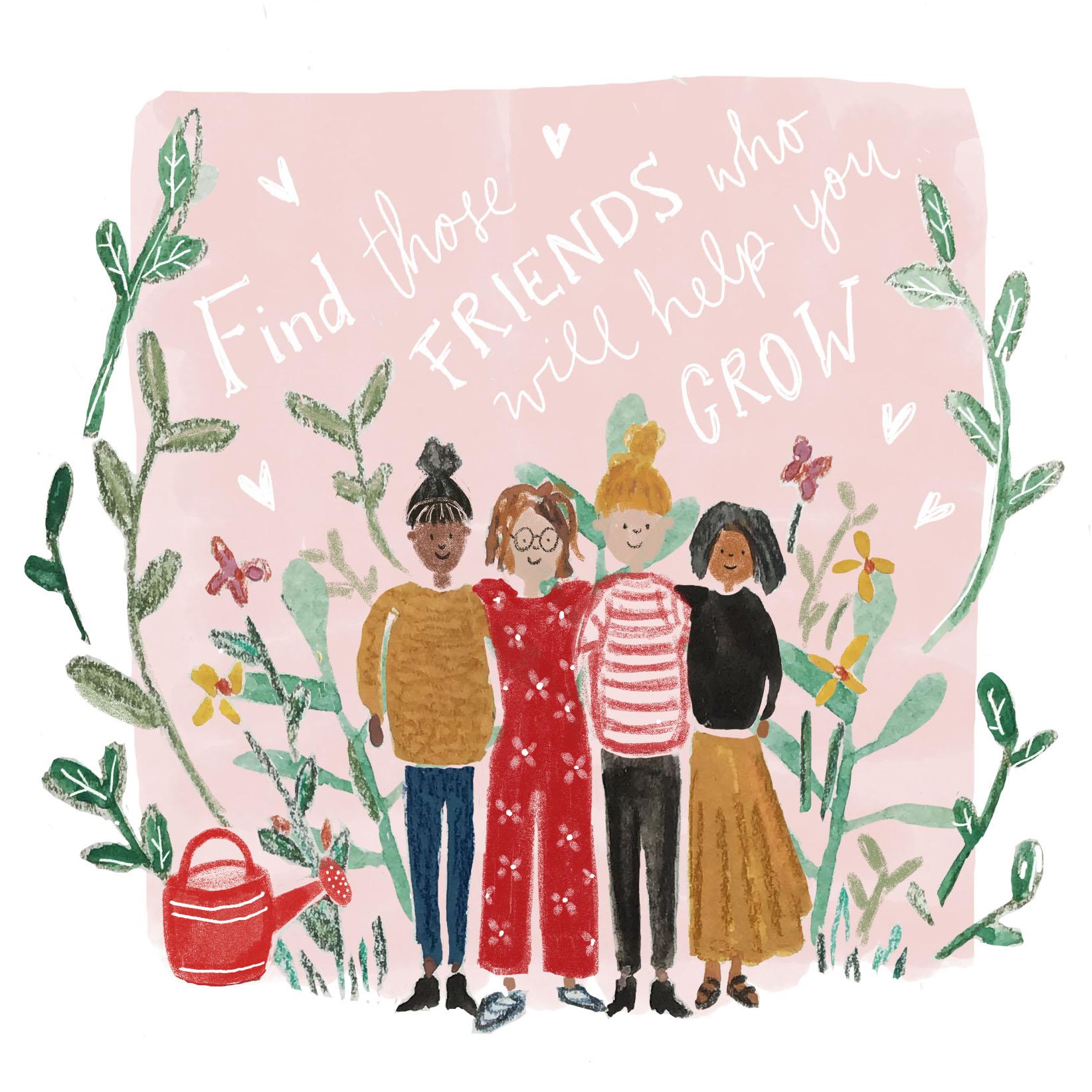 Gouache illustration friends